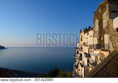 View On Old Houses Of Medieval Small Touristic Coastal Town Sperlonga And Sea Shore, Latina, Italy O
