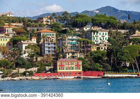 Santa Maria Ligure, Italy. October 20, 2020: Buildings On The Ligurian Coast. Houses Overlooking The