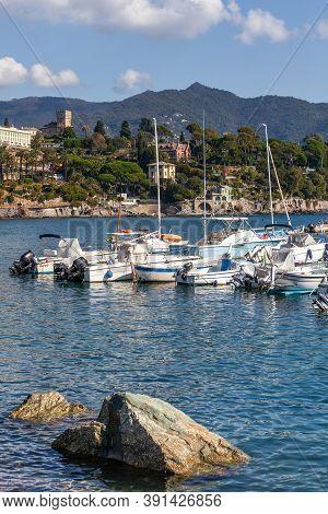 Santa Maria Ligure, Italy. October 20, 2020: Seaside Panorama On The Italian Coast On The Mediterran