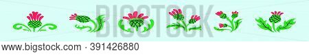 Set Of Thistles Cartoon Icon Design Template With Various Models. Vector Illustration Isolated On Bl