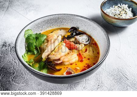 Tom Yam Kong Or Tom Yum, Clear Soup.tom Yam. Gray Background. Top View