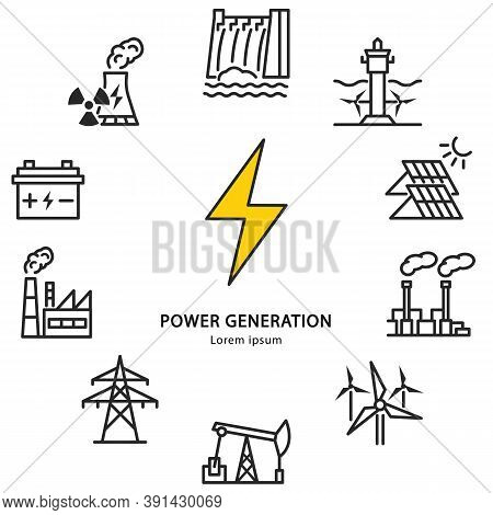 Power Plant Circle Banner With Flat Line Icons. Vector Illustration Power Generation. Infographics E