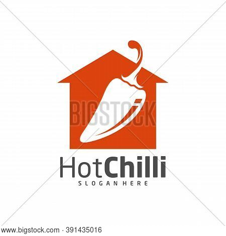 House Chili Logo Design Vector Template, Red Chili Illustration, Symbol Icon