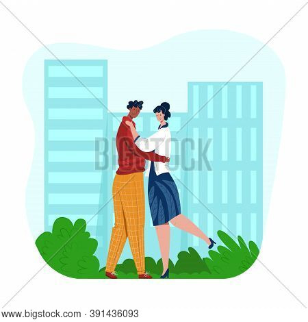 Vector Young Couple In Love Hugging And Admiring Each Other On Background Of City, Park. Concept Lov