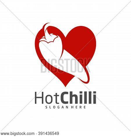 Love Chili Logo Design Vector Template, Red Chili Illustration, Symbol Icon