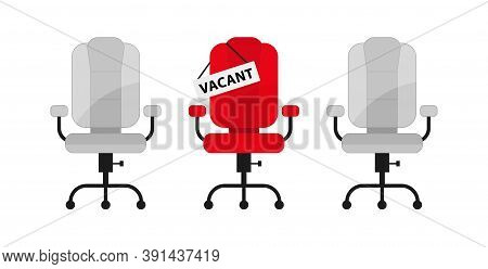 Office Chair And A Sign Vacant. Hiring And Recruiting. Jobs Open.