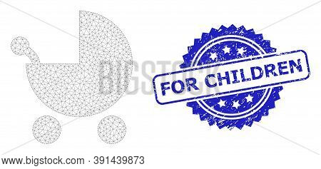 For Children Dirty Stamp And Vector Baby Carriage Mesh Structure. Blue Stamp Seal Contains For Child