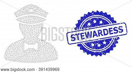 Stewardess Textured Stamp Seal And Vector Flying Attendant Mesh Model. Blue Stamp Includes Stewardes