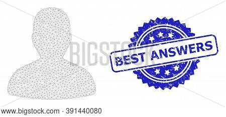 Best Answers Scratched Seal Imitation And Vector User Mesh Model. Blue Stamp Seal Contains Best Answ