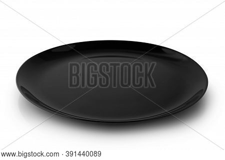 Flat Empty Plate Isolated On White Background.