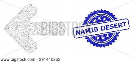 Namib Desert Rubber Stamp Seal And Vector Left Direction Mesh Model. Blue Stamp Contains Namib Deser