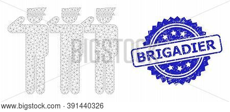 Brigadier Grunge Seal And Vector Soldiers Mesh Model. Blue Seal Contains Brigadier Tag Inside Rosett