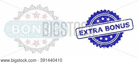 Extra Bonus Grunge Stamp Seal And Vector Bonus Tag Mesh Structure. Blue Stamp Seal Includes Extra Bo