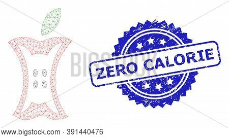 Zero Calorie Corroded Stamp Seal And Vector Apple Stump Mesh Model. Blue Stamp Seal Has Zero Calorie