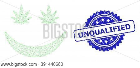 Unqualified Textured Seal Print And Vector Cannabis Smile Mesh Structure. Blue Stamp Seal Includes U