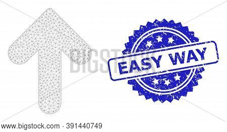 Easy Way Corroded Watermark And Vector Up Direction Mesh Model. Blue Seal Has Easy Way Tag Inside Ro