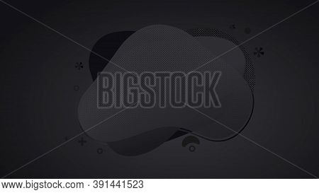 Abstract Black Liquid Banner With Gradient. Dynamical Geometric Forms, Shapes. Template For Design O