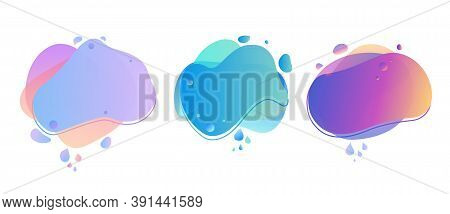 Abstract Liquid Banner With Gradient. Dynamical Geometric Forms, Shapes. Template For Design Or Adve