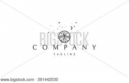 Vector Logo On Which An Abstract Image Of A Branchy Tree With A Root Under The Moon In A Circle.
