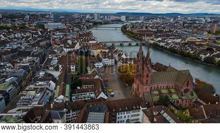 Aerial View Over The City Of Basel Switzerland And Cathedral - Drone Footage