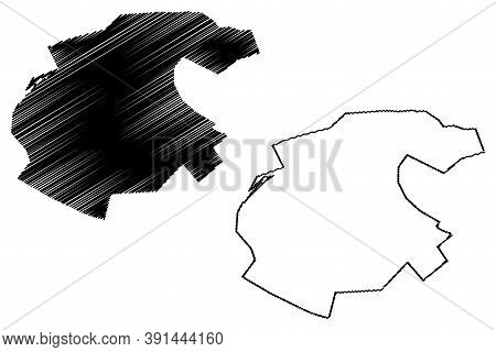 Fez City (kingdom Of Morocco, Fes-meknes Region) Map Vector Illustration, Scribble Sketch City Of Fe