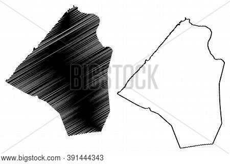 Rabat City (kingdom Of Morocco, Rabat-sale-kenitra Region) Map Vector Illustration, Scribble Sketch