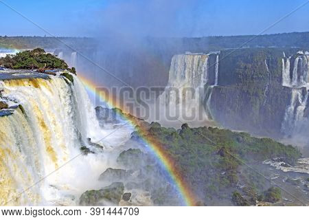 Plunging Waters Among The Mists At Iguazu Falls In Brazil