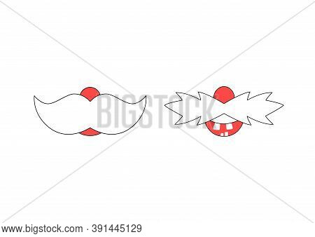 Vector Illustration Of Funny Santa Claus Mustache. Funny Mouths For Medical Face Mask Design, T-shir