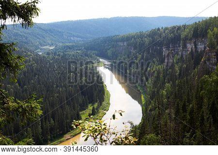 Landscape View To North River Usva From Ural Mountain Near Usvinskiye Poles, Perm Region, Russia On