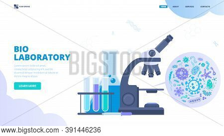 Bio Laboratory, Microbiology Research, Health Testing Vector Concept. Flat Vector Illustration For W
