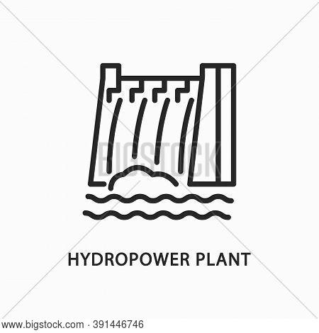 Hydropower Plant Line Flat Icon. Vector Illustration Alternative Renewable Energy Sources