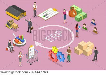 3d Isometric Vector Conceptual Illustration Of Erp - Enterprise Resource Planning.
