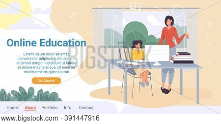 Online Education For Children Landing Page. Home Schooling, E-learning. Mother Help Child Study, Do