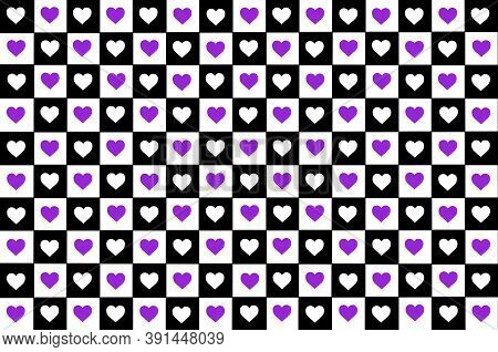 Black White Lilac Purple Checkered Background With Hearts. Checkered Texture. Space For Graphic Desi