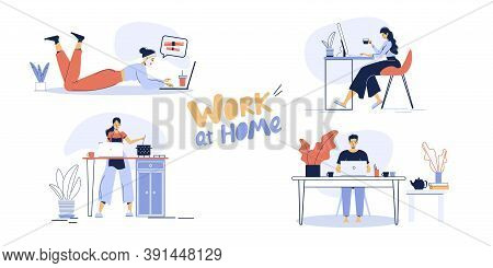 Young Man Woman Freelancer Combining Remote Online Work On Laptop From Home To Household Chores Set.