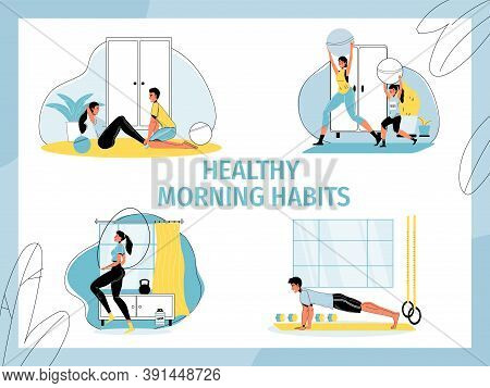 Healthy Morning Habits Set. People Enjoy Active Lifestyle. Mother Daughter, Man, Woman, Young Couple