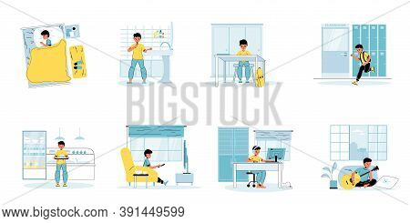 Little Boy Character Day Schedule Isolated Scene Set. Children Daily Life, Everyday Routine. Cute Ch
