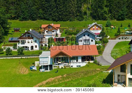 several houses in a village. planning and home