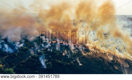 Clouds Of Smoke Above Dry Burning Field, Natural Disaster Wildfire. Burning Nature With Fire, Aerial