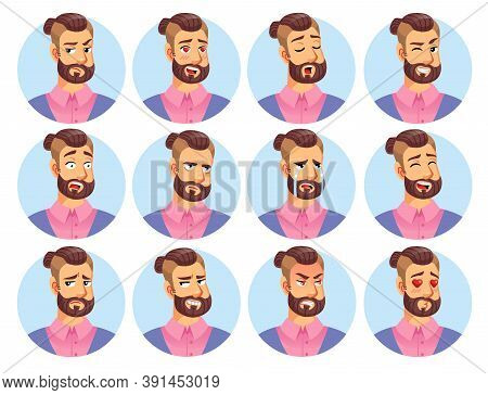 Hipster Man Character Avatar Emoticon Set. Winking, Yawning, Frowning, Falling In Love, Surprised, S