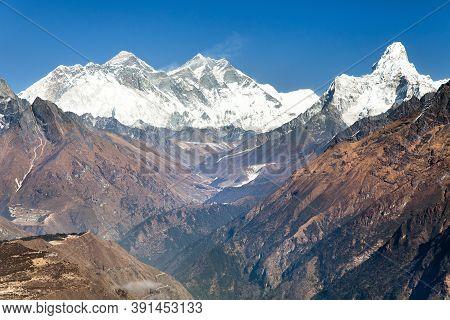 Panoramic View Of Mount Everest, Lhotse And Ama Dablam From Kongde Village - Sagarmatha National Par
