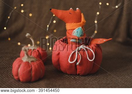 Autumn Cozy Still Life With Handmade Toy Fox And Fabric Pumpkins. House Decor, Cozy Handmade Toys. T