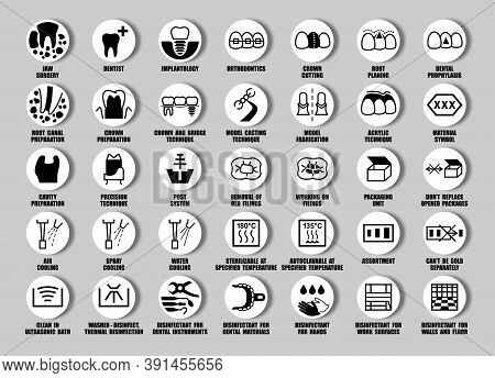 Full Set Of Iso, Fda Dentist Icons For Medical Device Pagkaging, Dental Equipment Symbols, Tooth Pic