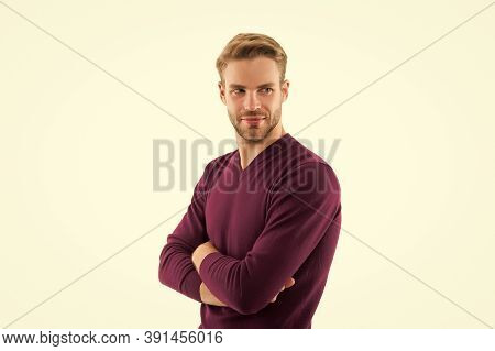 Catwalk Model. Barber Services. He Always Looks Impeccable. Looking Trendy. Handsome Man Isolated On