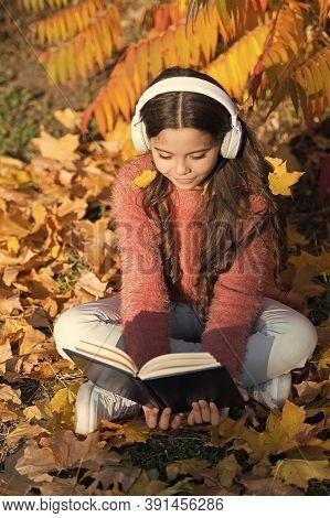 Opportunities For Audio Learning. Cute Kid In Stereo Earphones Sit On Autumn Leaves. Little Child En