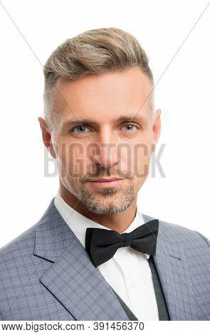 Proper Bow Tie. Gentleman Modern Style. Guy Well Groomed Bearded Gentleman Wear Tuxedo. Barber Shop