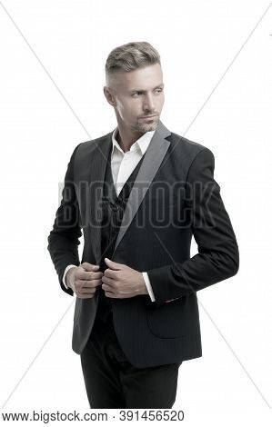 Tailored Suit. Rent Suit Service. Elegant Outfit. Gentleman Fashion Style. Menswear Concept. Guy Wel