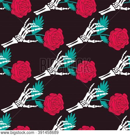 Happy Halloween Seamless Pattern With Skull, Flowers. Halloween Holiday Cute Element. Day Of The Dea