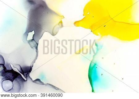 Artwork With Watercolor Spots. Color Drop Page. Sophisticated Fluid Wave. Creative Illustration. Con