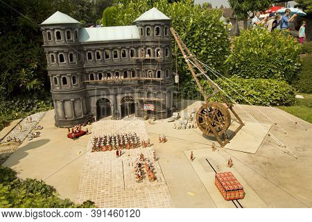 Brussels, Belgium, 14 August 2016. Miniature Old Gate In Trier,  Germany At The Park Mini Europe.